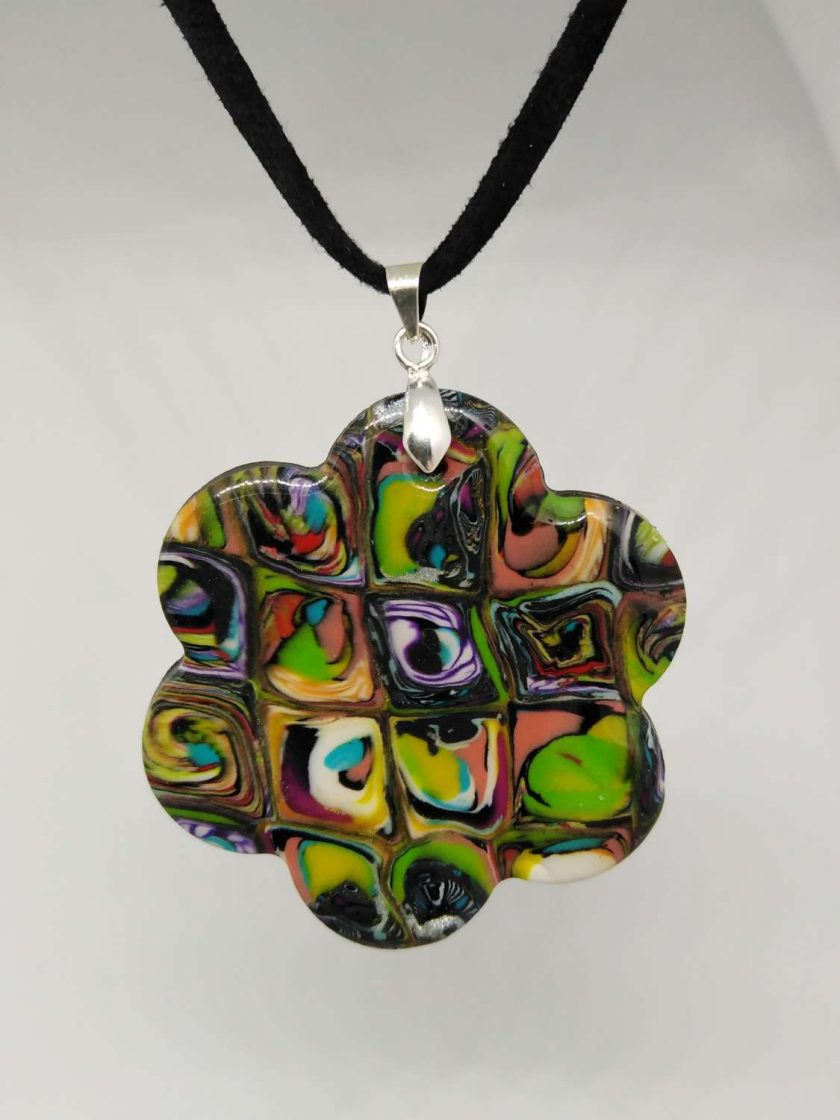 Abstract polymer clay necklace and and earrings set 2
