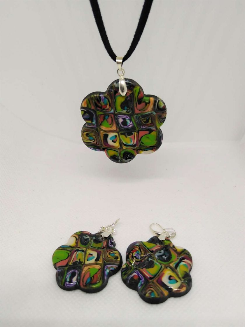 Abstract polymer clay necklace and and earrings set 1