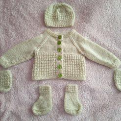 Newborn baby hand knitted gift set
