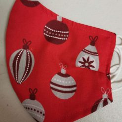 Christmas Baubles Design for these hand made cotton washable Face mask with 2 layers, ear elastic or ties in Size Small, Medium and Large. Free UK postage. 2