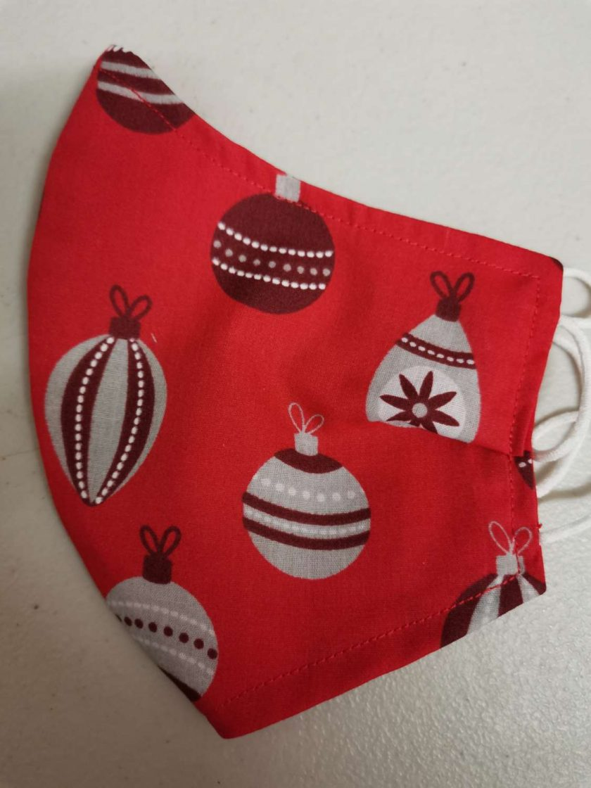 Christmas Baubles Design for these hand made cotton washable Face mask with 2 layers, ear elastic or ties in Size Small, Medium and Large. Free UK postage.
