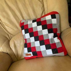 Black-Red-Grey patchwork cushion case