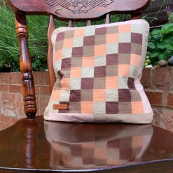 Pink patchwork, quilted cushion case