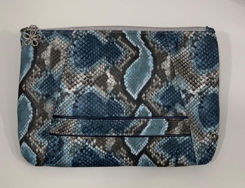 Sunshine Clutch Bag - blue snake skin print 1
