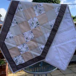 Beige-Flowers patchwork table runner