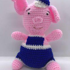 Handmade Bertie the Pig-handmade-soft and pink.