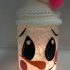 Mr Snowman Christmas decor/Merry Christmas/ Mantlepiece decor/ Table decor/ light up jar