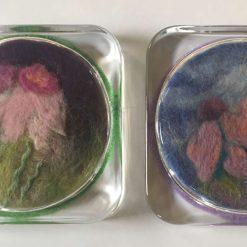 Glass coaster with needlefelt art -set of 2 / SOLD