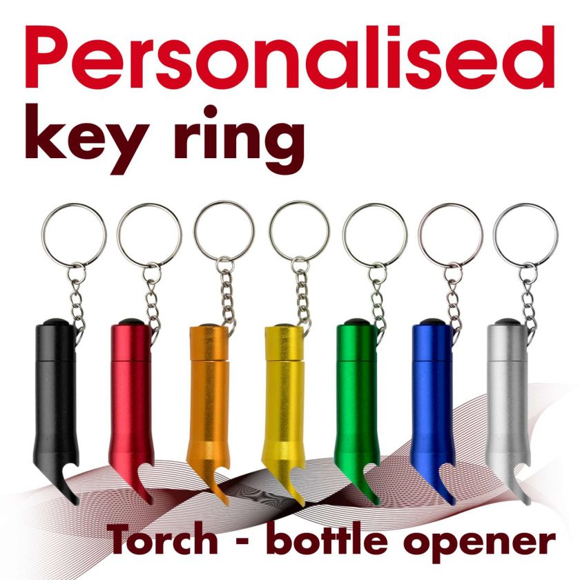 Personalised metal key ring *TORCH* bottle opener 1