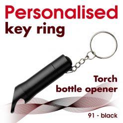 Personalised metal key ring *TORCH* bottle opener 37