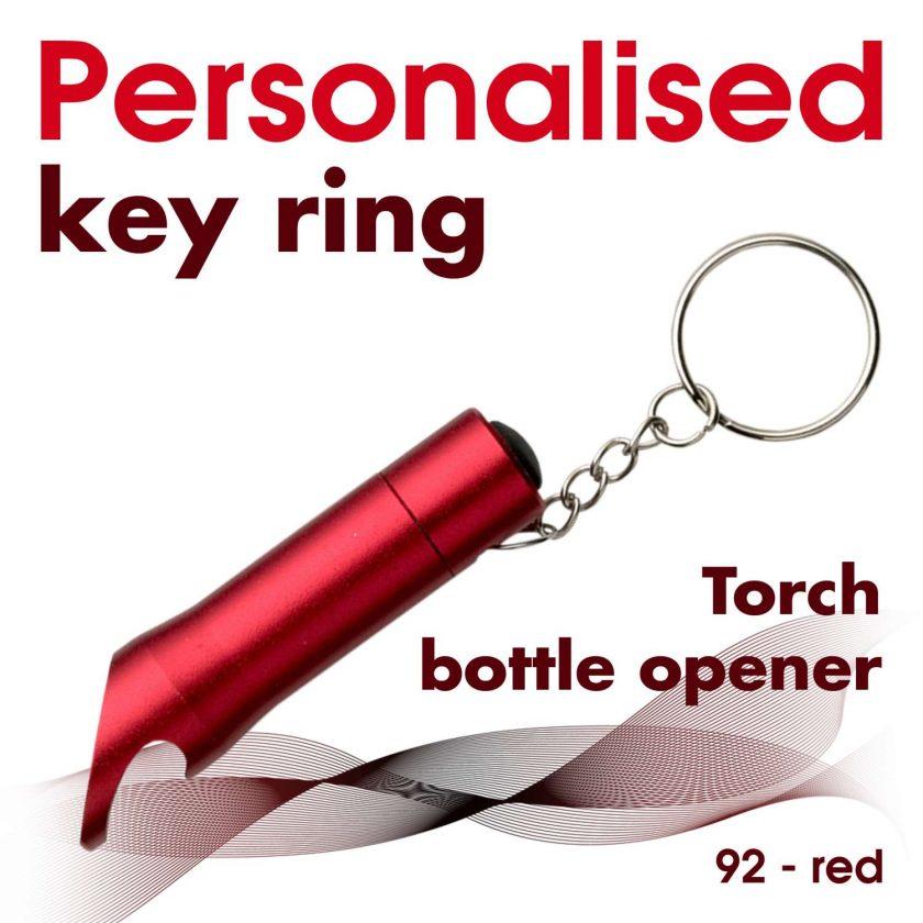 Personalised metal key ring *TORCH* bottle opener 17
