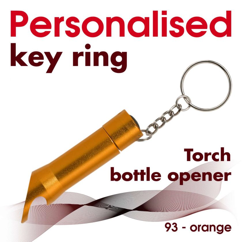 Personalised metal key ring *TORCH* bottle opener 18