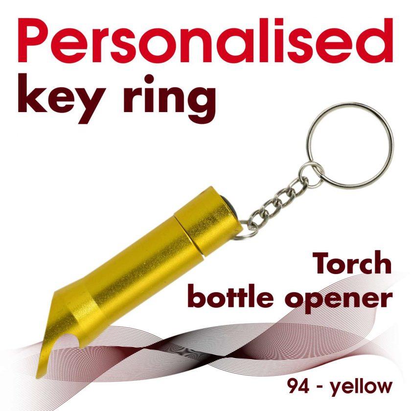 Personalised metal key ring *TORCH* bottle opener 19