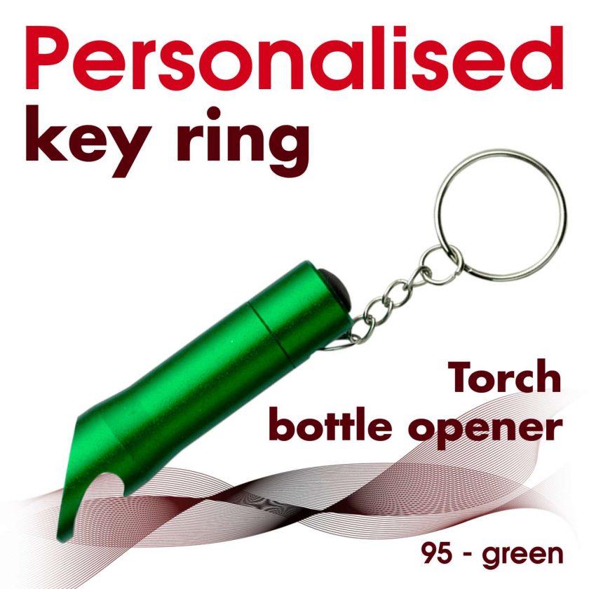 Personalised metal key ring *TORCH* bottle opener 20
