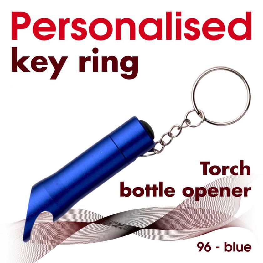 Personalised metal key ring *TORCH* bottle opener 21