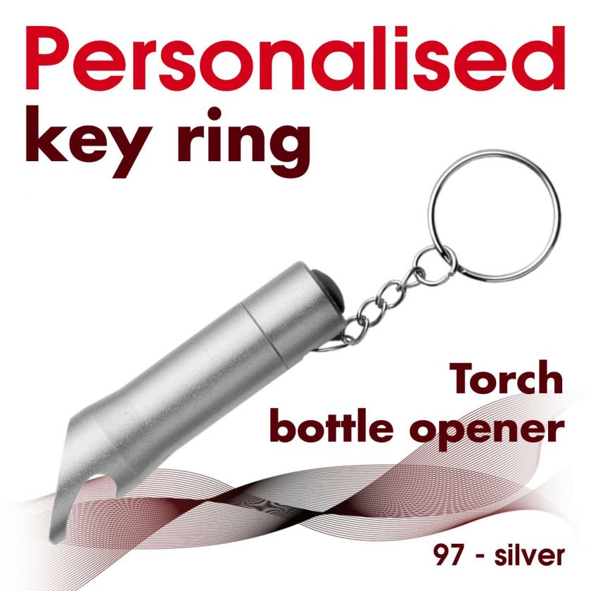 Personalised metal key ring *TORCH* bottle opener 22