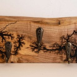 Wooden 3 Key Holder with Lichtenberg Detailing