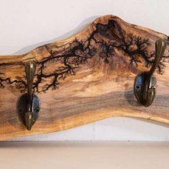 Wooden Lichtenberg Detailed Coat Hook
