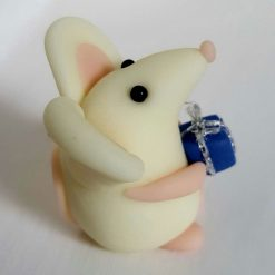 Mini mouse with gift - glow in the dark mice - ornament - decoration - birthday gift - cake topper 1