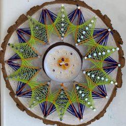 Mandala String Art- Diwali Tealight Holder- Blue and Green