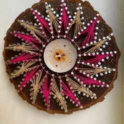 Mandala String Art- Diwali Tealight Holder- Pink and Beige