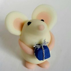 Mini mouse with gift - glow in the dark mice - ornament - decoration - birthday gift - cake topper
