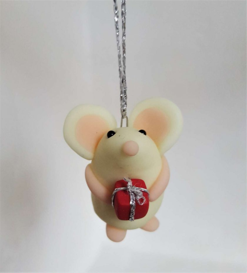 Mouse with gift hanging ornament - glow in the dark mice - decoration - gift - birthday
