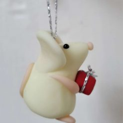 Mouse with gift hanging ornament - glow in the dark mice - decoration - gift - birthday 2
