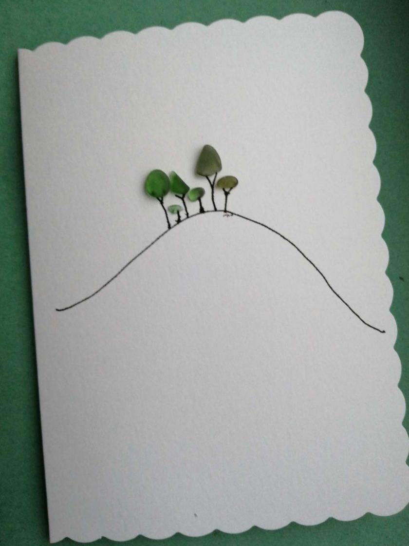 Cornish Tree card - handmade with seaglass 1