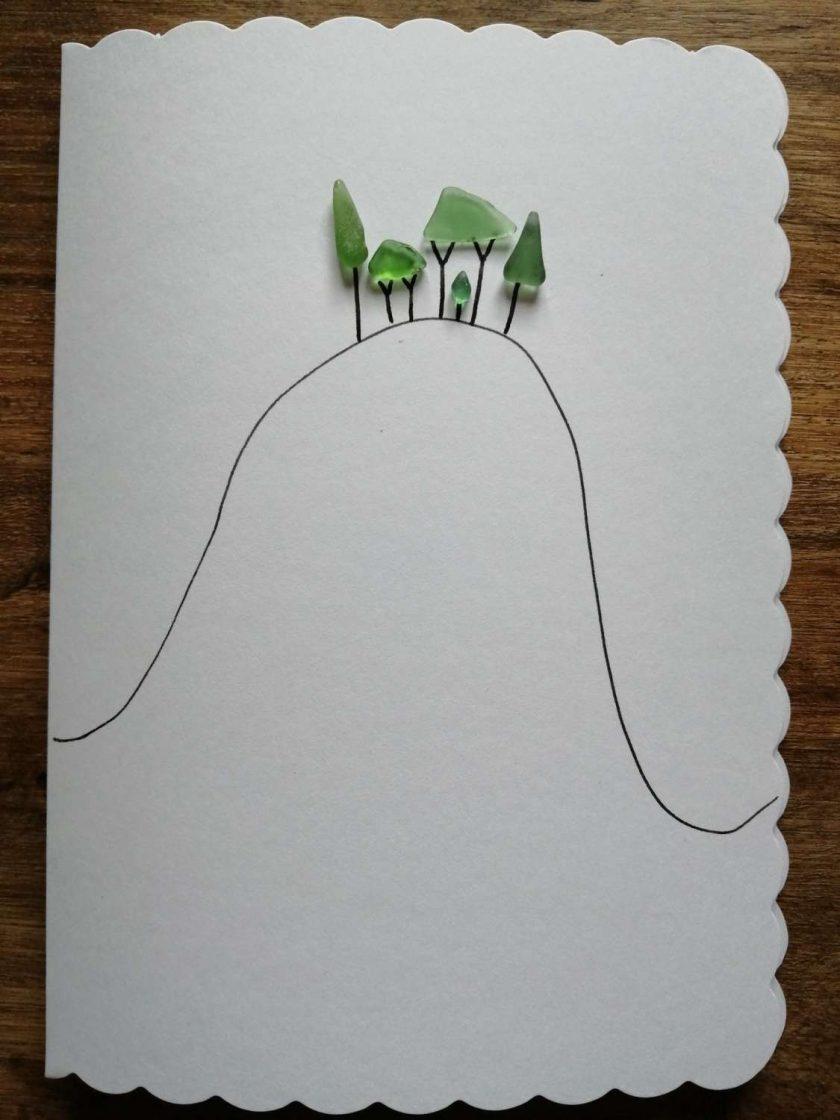 Cornish Tree card - handmade with seaglass 3