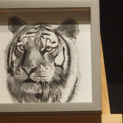 Tiger thread painting. Artwork.  Home decore. 5