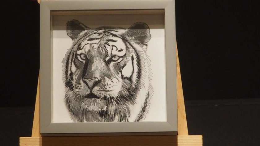 Tiger thread painting. Artwork.  Home decore. 3