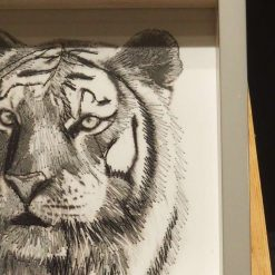 Tiger thread painting. Artwork.  Home decore. 4