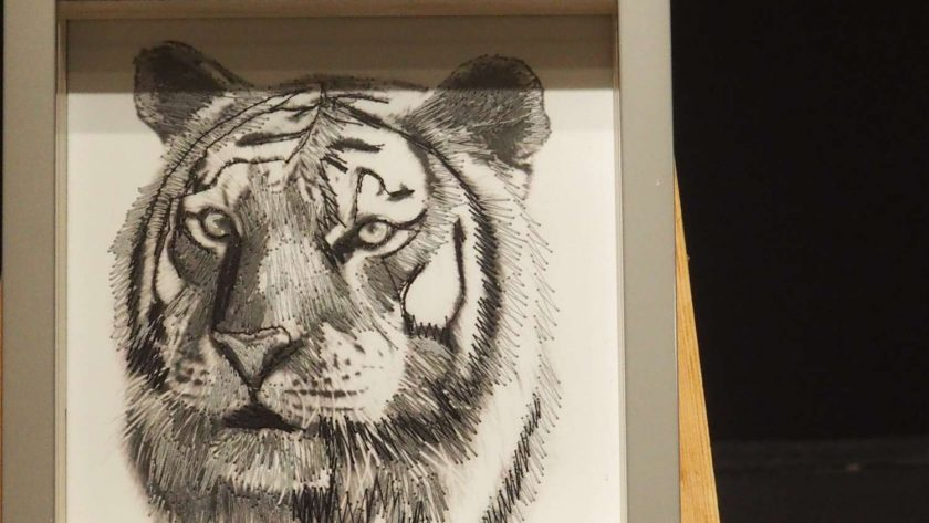 Tiger thread painting. Artwork.  Home decore. 2