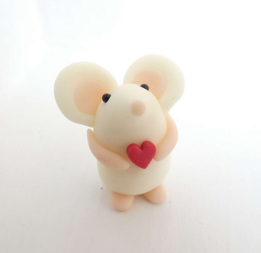 Mini mouse with heart - glow in the dark - ornament - Valentine gift - cake topper - birthday - thank you present