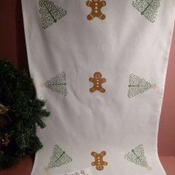 Hand printed Christmas design tea towel.