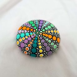 stone, natural pebble mandala, round, multicolour, paper weight, ornament