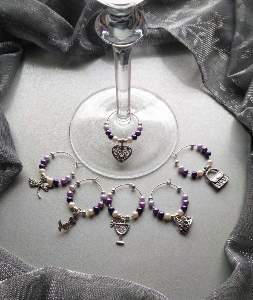 Christmas ideas: Purple wine glass charms #3 1