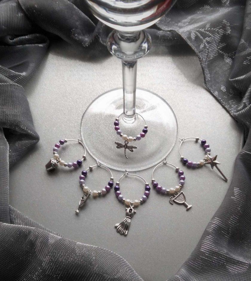 Christmas ideas: Purple wine glass charms #4 1