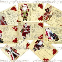 Santa's Postcards, Journal Ephemera, Labels, Tags, Junk Journal, Card Making, Journal Cards, ATC, Card Toppers.