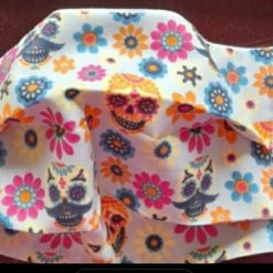 Face mask   Skulls and flowers print  with supersoft elastic ear loops