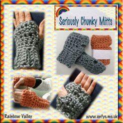 Chunky fingerless mittens - crochet, super soft