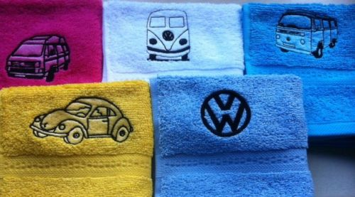 Embroidered VW design face flannel personalised with a name, £4.45 1