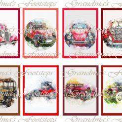 Vintage Cars, Journal Ephemera, Labels, Tags, Junk Journal, Card Making, Journal Cards, ATC, Card Toppers.