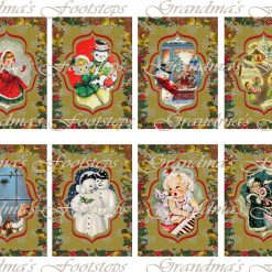 Vintage Christmas, Journal Ephemera, Labels, Tags, Junk Journal, Card Making, Journal Cards, ATC, Card Toppers.