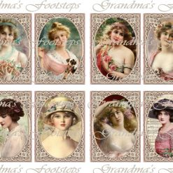 Vintage Ladies, Journal Ephemera, Labels, Tags, Junk Journal, Card Making, Journal Cards, ATC, Card Toppers.