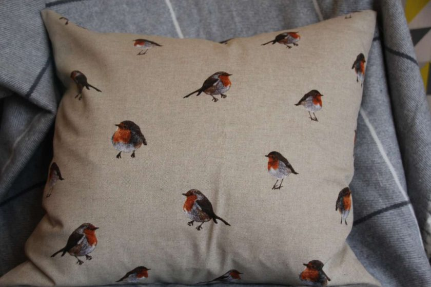 "Festive Robin Double Sided Print. Duck Feather Cushion. 20"" x 20"" Square Cushion Cover 2"