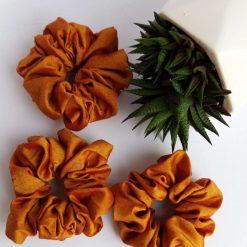 Set of 3 beautiful brown handmade scrunchies