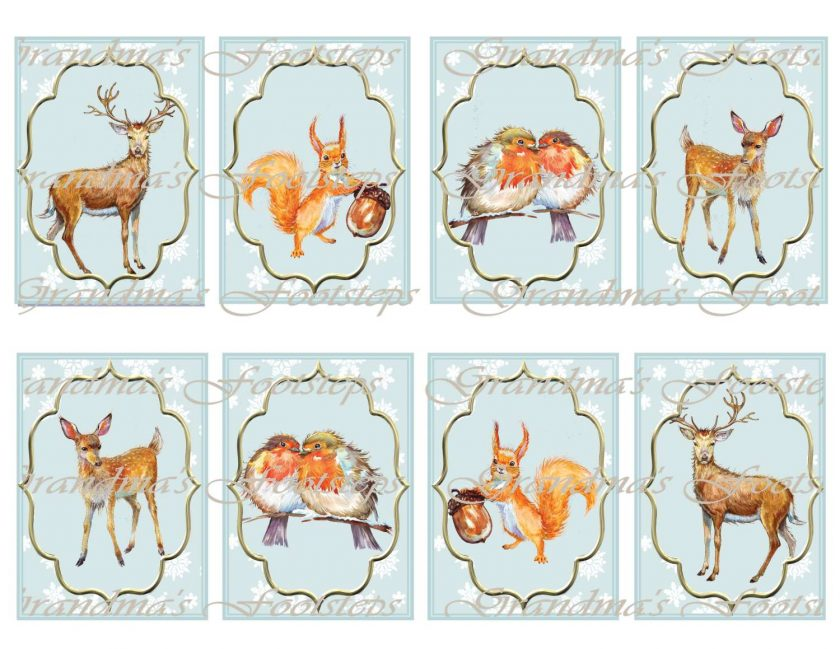 Wildlife, Journal Ephemera, Labels, Tags, Junk Journal, Card Making, Journal Cards, ATC, Card Toppers.