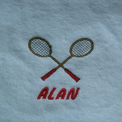 Embroidered badminton design face flannel personalised with a name£4.95